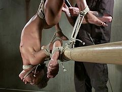 Nikki Darling gets her black pussy toyed to orgasm in BDSM scene