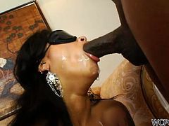 Skin Diamond is one naughty ebony who will get a surprise in the form of two big black cocks inside everyone of her holes.