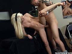 Young blondie feels fat cock gently pounding her cunt and filling her deep during hardcore