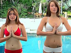 Brunette Natasha Malkova with trimmed muff having lesbian fun with lesbian Malena Morgan
