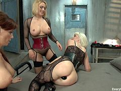 Get a load of this brutal lesbian clip where all of these hotties end up with their assholes stretched out after being nailed by one another.