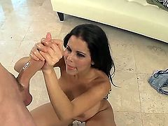 Horny and slutty brunette Diamond Kitty uses her gentle and skillful hands to make this huge dick cumming sweet. She uses his cum as cream for her hands!