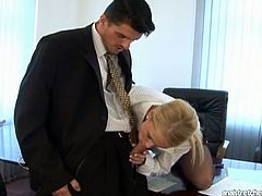 Wondrous blondie desires to get rid of stress. Kinky pale chick forgets about paper work as soon as she sees a dick boner. It's high time to suck and ride this tool for reaching the seventh heaven of delight. Dude, spoiled office employee in Pack of Porn sex clip is surely worth your attention tonight.