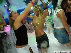 Soapy party turns into unforgettable and hot orgy in a flash. Dozen of slim lesbos thirst for eating wet juicy pussies. These experts in pussy fingering boast of sweet tits and gonna reach multiple orgasm right away.