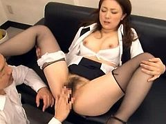 Salacious Japanese office girl Rin Ayame is having fun with her boss indoors. She lets the man caress her body and then they bang doggy style and in other positions.