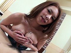 Seductive Japanese mature rubs a sturdy cock between her big tits before she welcomes it inside her mouth for a mind-taking blowjob in sultry pov sex video by Jav HD.