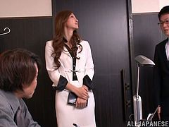 Sexy Japanese bitch Reira Aisaki is having fun with some horny dude in an office. The pet each other ardently and then bang in all known positions.