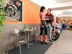 Sex hungry daddy heads to the salon in order to purchase a bike where he meets a seductive brunette milf. In order to persuade him make a purchase, spoiled milf kneels down to give a fantastic blowjob.