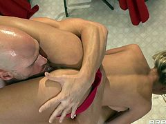 Skinny blonde with big tits gets serious banged during naughty hardcore porn scene