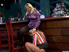 Spoiled mature lesbian drill soaking twat of another hussy that stands by the bar tender with her finger before both of them kneel down to give simultaneous blowjob to aroused daddy in insane threesome sex video by Tainster.