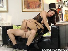 This bitch has a kinky hobby. She likes to be fucked doggy in front of the mirror right on the floor. Dirty mature hooker with pale tits prefers to start with a solid blowjob, which she gives passionately to the strong dick of lucky cyclist.