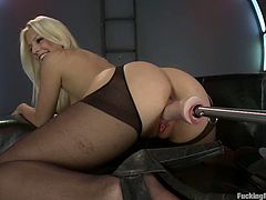 Delightful blonde babe toys her pussy with a vibrator. Then she also gets toyed hard in her ass and pussy.
