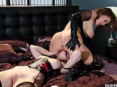 Arousing lesbians are having fun stimulating one another during sexy femdom porn