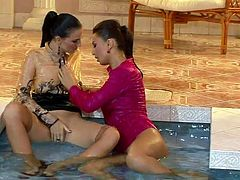 Smoking babes rub each other's pussies moaning with pleasure. Later one of them goes down eating another. Exciting lesbian sex video.