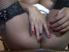 Naughty nurse India digs her fingers in her red panties to please her punani