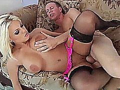 Gorgeous blonde slut takes a huge cock