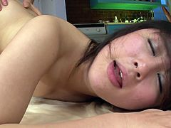 Teeny dark haired Asian bitch Kyouka Mizusawa gets dual shagged by couple of horny guys. Girl rides on top, takes it up her hairy pussy doggystyle and gets poked missionary style as well.