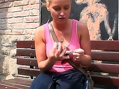Blonde Kathia Nobili enjoys another masturbation session after stripping