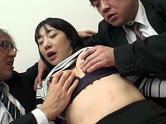 Japanese submissive cutie gets rid of her top and short skirt. Short haired brunette gets her tits jammed and her already wet pussy rubbed tenderly by two horny dudes. You'll jizz at once hearing this slim gal moaning of delight in Jav HD sex clip.