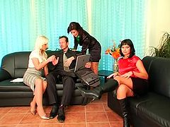 Ardent blond and black heads don't even get rid of their tight skirts and blouses. Cum addicted blowlerinas wanna even to fight for a chance to suck a strong dick. Kinky slim nymphos with sweet tits in Tainster sex clip will surely make you jizz.