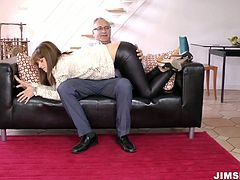 Torrid brunette in white blouse and leather pants is ready to please a man. Being horny f