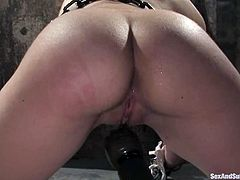 Awesome brunette Sasha Grey is playing filthy games with Steven St. Croix in a basement. She lets the man tie her up and put a gag in her mouth and then gets her pussy fucked hard from behind.