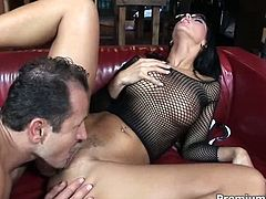 This brunette slut with big juicy boobs is extremely beautiful woman and she knows that she is driving her lover crazy. She allows him to lick her succulent snatch and then she rides him like a cowgirl until he cums.