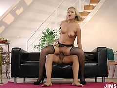Lots of delight is surely guaranteed tonight, cuz ardent short haired blondie thirsts for being fucked doggy. Mesmerizing slut in stockings smacks her ass up while jumping on the tool passionately. This amazing blowlerina with small tits is surely worth checking out in Jim Slip sex clip if you wanna jizz at once.