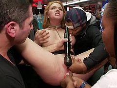 Stunning blonde babe shows her big boobs and sucks dicks in a shop in public. Later on she gets her ass drilled.