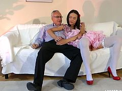 Cocky old man digs Nataly's tight sweet pussy with his tongue. girl gets horny ans treats her lover with incredible blowjob.