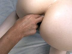 Horny dude stretches unused vagina of luscious Japanese babe by poking it with his finger in doggy pose while she gets double penetrated in cowgirl style