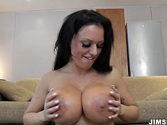 Enjoy super busty babe Kerry in action.She rides his dick and he enjoys her bouncing boobs. You are welcome here to be pleased with her impressive huge jugs.