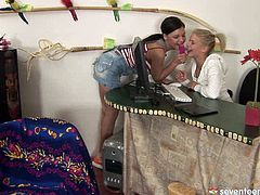 Two mesmerizing amateurs do their homework together before they decide to defuse tension by steamy lesbian plays. They get naked before they start tongue fucking each other's bald cunts in steamy sex video by Club Seventeen.
