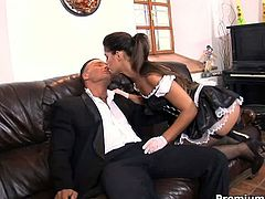 Tempting brunette hottie gets her succulent pussy expertly licked and fucked in the hottest sex video presented by Premium HDV.