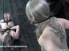 Penny Pax and Sarah Jane Ceylon are two blonde sluts. They got tied and this dude used nipple clamps on their sweet teenage titties!
