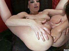 Dana Dearmond and Marica Hase finger, toy and fist each others asses. Later on Japanese girl gets fucked with strap on. In addition Dana gets her ass pumped with water.