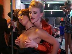 Two busty and booty babes give deepthoat blowjob and after get their punanies drilled hard. Be ready fro hardcore party sex tube video. This show is worty of being seen.