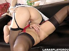 Two palatable and horny gals spin on the couch. Blond and black heads are both pros in tickling, licking and spooning wet pussies. Zealous nymphos with smooth pale asses are ready to show you what a true love of two sexy British lesbos is.