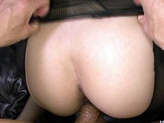 He explores her hairy pussy with his fingers and after thrusts his cock in her slit an drills her hard in doggy style till happy ending.