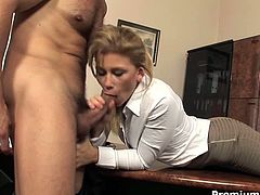 Impressively beautiful and hot secretary Brooklyn seduces her boss in the office. So she sucks his meaty cock deepthroat. Then she is banged hardcore on a table.