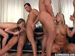 Sensual blonde hotties are having the best time fucking like sluts in wild group action