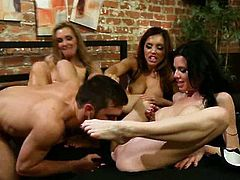There's hot sex and kinky foot fetish action in this FFFM foursome where the hot busty sluts have the kinkiest fun with a guy.