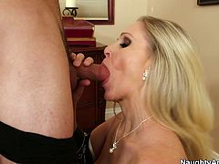 She acts incredibly seductive filming in Naughty America porn clip. Yes, she is true talented seductress. Watch her sucking hard cock deepthroat and giving the guy and awesome titjob.