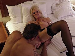 Blonde milf with bog tits likes getting hard fucked and filled with warm juice