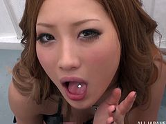 Pretty Japanese chick Aika is trying hard to please her BF. She sucks and deepthroats his dick and swallows all the cum which she gets.