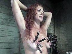 This delightful and super sexy abbe Sabrian Fox is being inflicted to some double penetration in this BDSM session. Pain and cocks is what she wants all the time!
