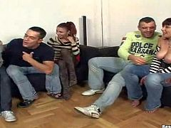 Renato and Tony really have fun in this arousing afternoon hanging out with hot and sexy babes, Crystal Crown and her busty friends in a living room on the couch
