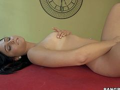 Ariana Marie is a dark haired fully nude cutie that shows off her sexy body and strokes her neat pussy on a pool table. Watch completely naked girl have fun playing with herself.