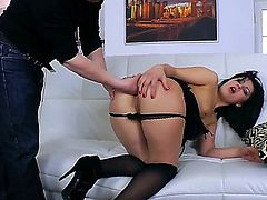She is an opened girl, she likes to show her forms and to make men happy. Bella Marchelli does deep throat blowjob and then stands in the doggy style pose. She is ready for hot drilling!