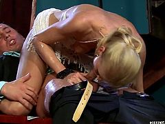 Mind taking blond stripper performs a steamy private dance in front of sugar daddy before she makes a hole in her pantyhose to give a head to aroused dude while getting tongue fucked in pose 69. Later she gets on his strain dick for a ride in cowgirl and reverse cowgirl styles.